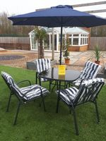 Kingfisher Deluxe Blue Padded Garden Furniture Set - 4 Seater